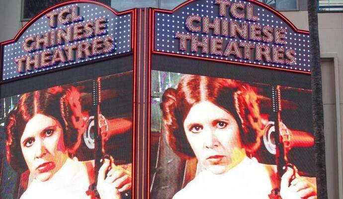 Gedenken an carrie Fisher am TCL Chinese Theatre in Hollywood. Foto: Eugene Garcia
