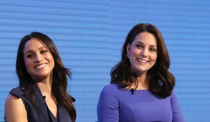 Meghan Markle (l) und Herzogin Kate beim Forum der Stiftung «Royal Foundation». Foto: Chris Jackson