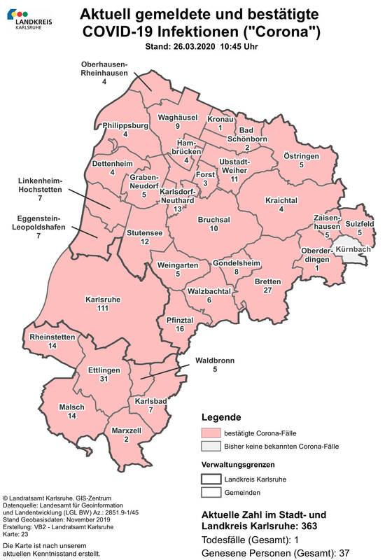 Coronafälle Landkreis Karlsruhe