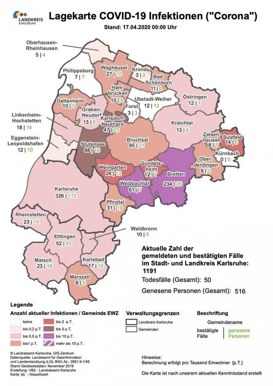 Lage Karte Covid 19 Landkreis Karlsruhe