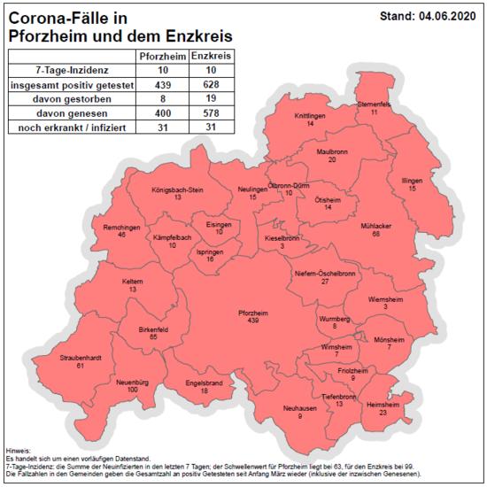 Corona Enzkreis Karte
