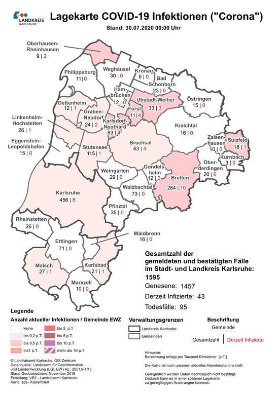 Corona-Fälle in Pforzheim, im Enzkreis und im Kreis Calw